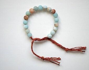 Amazonite & Tussah Silk Wrist Mala, 18 Bead Mala Bracelet, Matte Amazonite and Wild Silk Braided Wrist Mala, Tie Mala Bracelet, Mala Beads