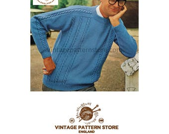 "Mans, crew neck, rope cabled, raglan, DK sweater - 38"" - 44"" chest - Vintage PDF Knitting Pattern 345"