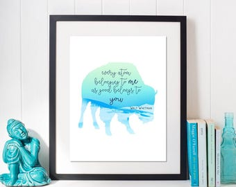 Every Atom // Nursery // Walt Whitman Quote // Art Print