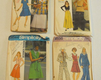 Lot 0f 4 Size 12 Vintage 70's Simplicity sewing patterns 5504 6844 5306 5856