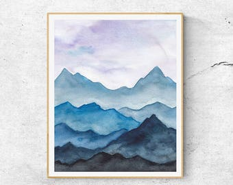 Fine Art Prints, Contemporary art, Watercolor Mountains Painting, Modern Art, Abstract Mountains, Blue Mountains, Mountains Art Print