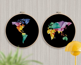 BOGO FREE! Geometric Map Cross Stitch Pattern, World Map Silhouette Counted Cross Stitch Chart, Modern Decor, PDF Instant Download #025-17-3