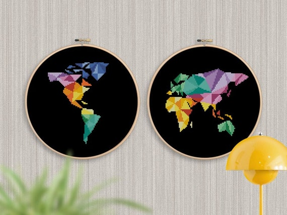 Bogo free geometric map cross stitch pattern world map geometric map cross stitch pattern world map silhouette counted cross stitch chart modern decor pdf instant download 025 17 3 gumiabroncs Images