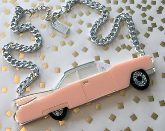 Vintage Cadillac Convertible Car Necklace, Laser Cut Acrylic, Plastic Jewelry