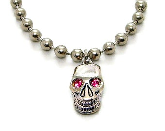 Skull red or pink eyes 6.3mm Ball Chain Necklace Made in USA 18, 20, 24, 30 Inches 7262