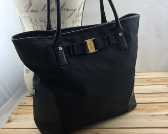 cc752e94ee Salvatore FERRAGAMO Tote Bag with Vara Bow Black Canvas and Leather Trim  Made in Italy