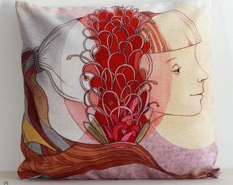 Grevillea Girl cushion cover. Velvet. Pillow. Native Australian flower illustration. Australian gift with original art by flossy-p