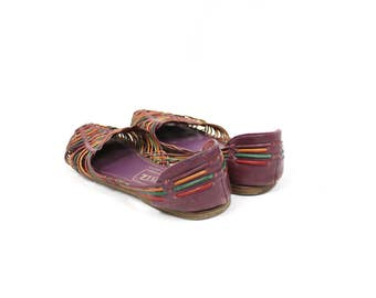 1980's Brazilian Leather Woven Sandals in Women's 8 with Natural Muted Colors  80s Slingback Flats Red Orange Green