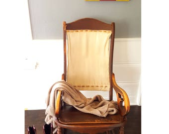 Antique Lincoln Rocking Chair, Primitive Style Rocking Chair With Leather Bound Canvas Back