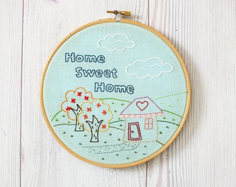Home hoop art, home sweet home embroidery, home wall art,hostess gift idea, housewarming gift idea gift for new house, home quote