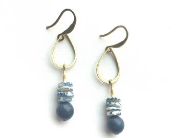 Blue Earrings shell & brass teardrop vintage raw brass Rusted Pearl