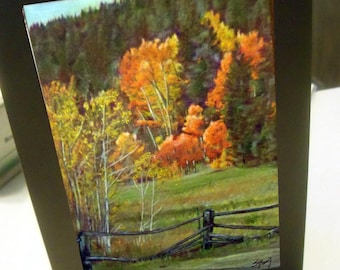 greeting card print of original art-Colorado Gold fall leaves  landscape