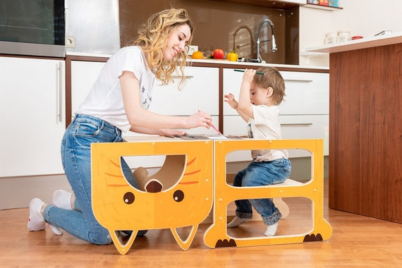 Kitchen step stool  ''Funny fox'' , step stool, table and chair.