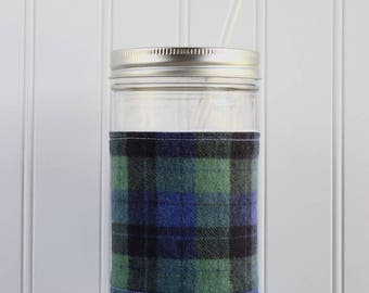 Green & Blue Plaid Flannel Mason Jar Sleeve - for PINT AND A HALF Mason Jar (24 oz)