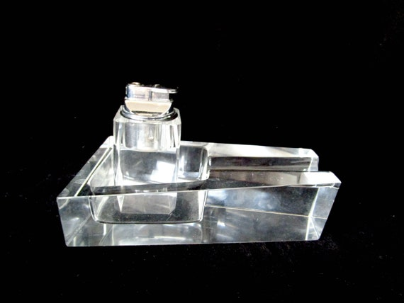 Mid Century Table Lighter and Ashtray, Heavy Glass, Large Glass Ashtray and Lighter, Modern Design