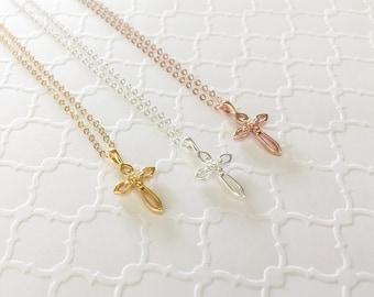 Dainty Cross Necklace, Rose Gold Cross Necklace, Sterling Silver Cross Necklace, Gold Cross Necklace, Small Cross Necklace, Cross Choker