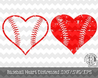 Baseball Heart Distressed INSTANT DOWNLOAD in dxf/svg/eps for use with programs such as Silhouette Studio and Cricut Design Space