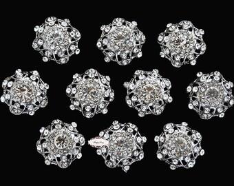 SALE 10 Rhinestone Buttons - Flat back Embellishment Buttons - Rhinestone Buttons - Metal Flat back Embellishments DIY RD258