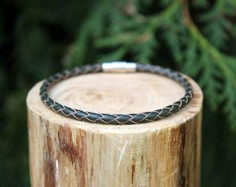 Dark Green Braided Leather Bracelet, Leather Bracelet, Braided Leather, Braided Bracelet, Dark Green Leather, Mens Bracelet, Womens Bracelet