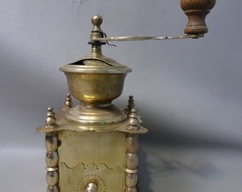 Yellow Brass Coffee Grinder-France-1930s