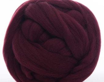 Merino Wool Top - 22.5 micron -Burgundy - 4 ounces