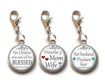 Clip On Charms, Proverbs 31:28, Mom, Wife, Christian, Religious, Dangle Charm,  Lobster Clasp, Bible Verse, Scripture, Inspirational Saying