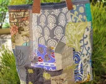 Large womens bag , Tote bag , Over sized bag  , Up cycled fabric bag , Diaper bag , Hold all bag , Hippie chic bag , Scrap fabric tote.