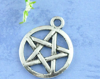 10 charms/pendant 20X17mm pentacles