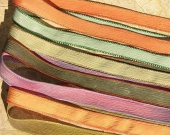 PEACH ORCHARD Silk Ribbons Assortment, Qty 7 Hand Dyed Crinkle Silk Ribbons, Jewelry Making Stringing Supplies