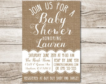 Burlap Baby Shower Invitation - Burlap and Lace - 5 x 7