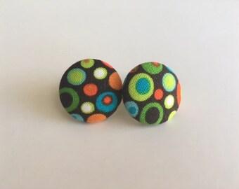 Brown Dot Button Earrings/Round Earrings