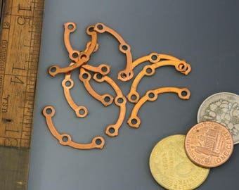 """Copper over steel. 3 point connector. Vintage 1970s. 1 1/8"""" x 3/8"""". Packs of 10. Beadwork, Jewelry making, Jewelry supply."""