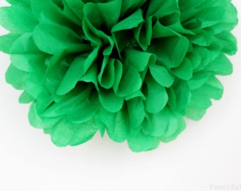 Green Tissue Paper Pom Poms- Wedding, Birthday, Bridal Shower, Baby Shower, Party Decorations, Garden Party