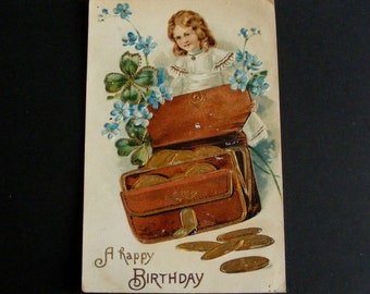 Vintage Birthday Postcard Girl with Leather Coin Purse Full of Gold Money Blue Forget Me Nots, Weckesser Guttenberg New Jersey - 9675