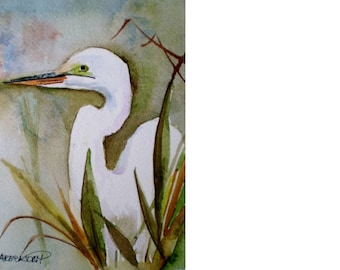 Egret painting,  Florida birds,  coastal painting, ORIGINAL watercolor.