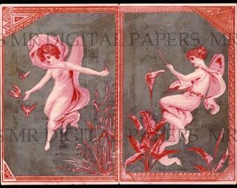 Antique Fairy Card / Fairie Card / Digital Instant Download / Paper Ephemera / Trade Card / Fairy Print / Fairy Art / Fairy Decor / Fairies