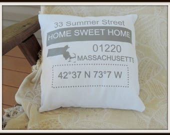 custom Home sweet home, new home housewarming gift, agent closing gift, latitude longitude, your state gift, hometown gift, moving away gift