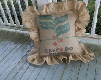 "24"" Coffee Bag Pillow Ruffled Coffee Sack Burlap Pillow Decorative Pillow French Country Prairie Farmhouse"