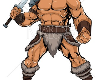 Barbarian on White - Vector Illustration. warrior, conan, gladiator, savage, hero, character, fighter, hercules, superhero, action, fantasy