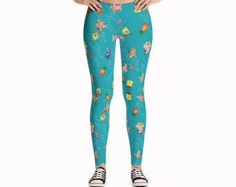 Sponge Bob and Friends Leggings / Cartoon Leggings / Aquatic Leggings  / Printed Leggings  / Fun Yoga Pants  / Cute Leggings / Kawai Tights