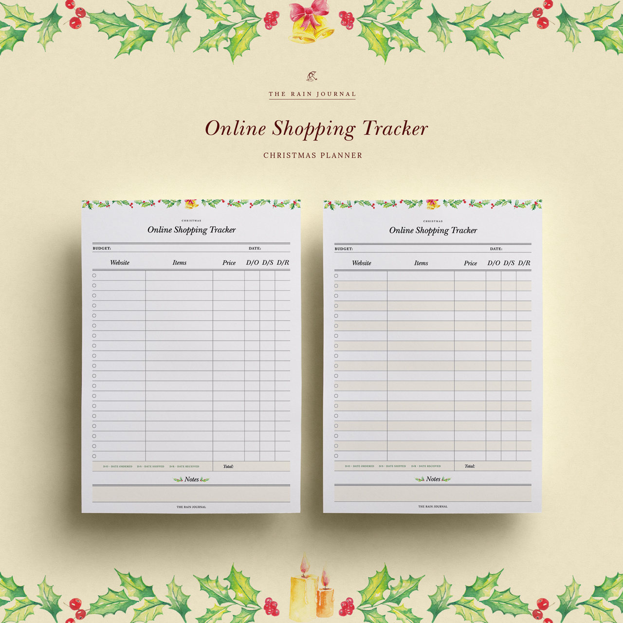 online shopping tracker shopping list christmas planner