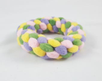 Small Spring Woven Fleece Ring Dog Toy - Easter Fleece Ring Toy for Dogs