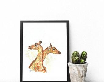 Large Giraffe Love Original Watercolour Art Print | Safari Nursery | Safari Nursery Art | Safari Baby Shower | Wall Decor | Art Prints