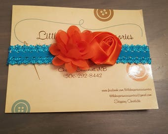Orange organza satin flower headband