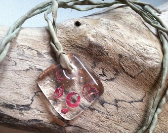 Fused Glass Pendant  with Hammered Copper metal inclusion OOAK Self Representing Artist SRA K47
