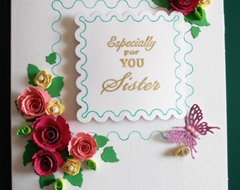 Handmade Personalised  Birthday/Anniversary Card in Pink with Quilled Flowers