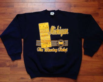 90's Michigan Wolverines Navy Blue Sweatshirt - Fits like XL - Made in USA - 20/20 Sport Inc.