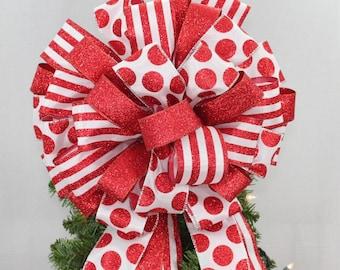 Red Dot Stripe Glitter Christmas Tree Bow Topper Christmas Tree Bow Topper - Bow Tree Topper, Large Christmas Bow, Bow Tree Topper