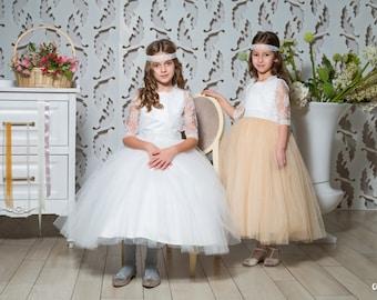 Gorgeous flower girls dress, flower girl dresses - party dress girls, special occasion girls dress, princess dress, champagne, white, ivory.
