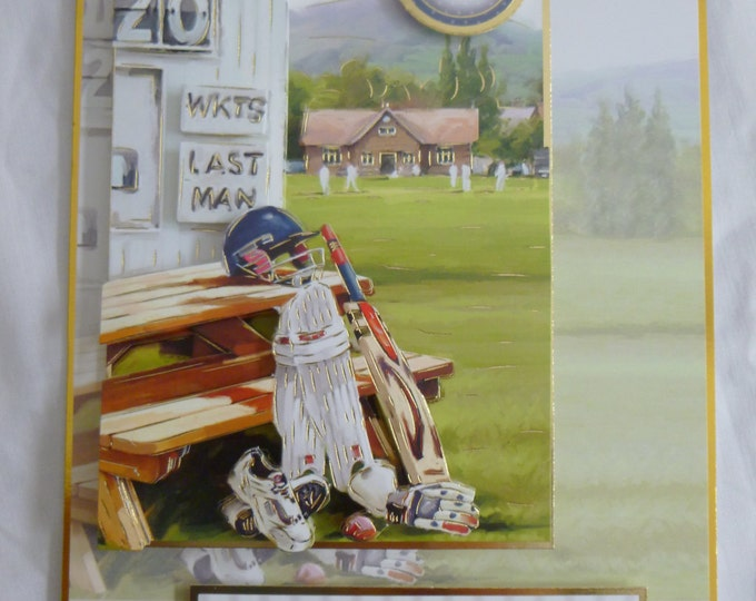 3 D Decoupage, Birthday Card, Greeting Card, Cricket, Male of Any Age, Father, Son Brother, Nephew, Uncle, Granddad